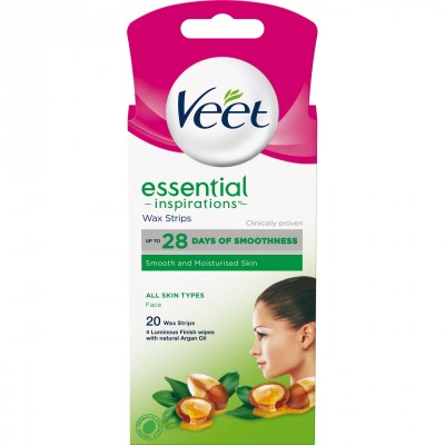 Veet Essential Inspirations Wax Strips All Skin Types Face 20 stk