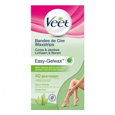 Veet Easy-Gel Wax Strips Dry Skin Legs 40 pcs