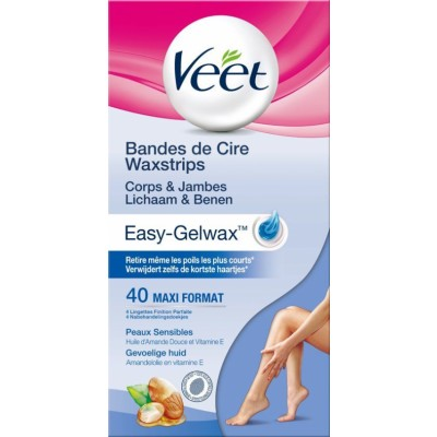 Veet Easy-Gel Wax Strips Sensitive Skin Legs 40 st