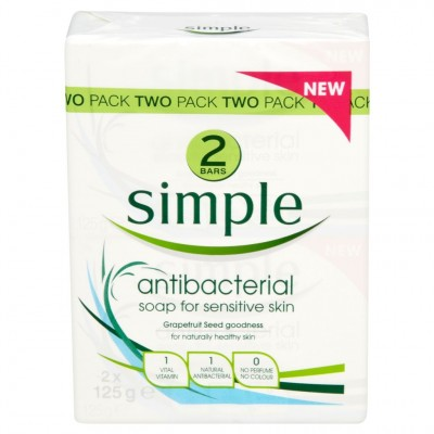 Simple Anti Bacterial Soap Twin Pack 2 x 125 g