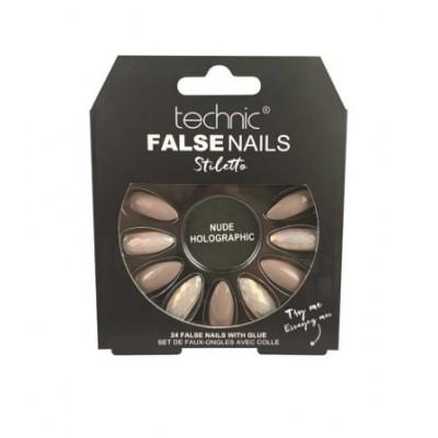 Technic False Nails Stiletto Nude Holographic 24 stk