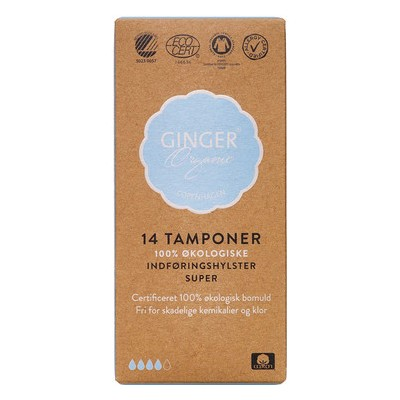 Ginger Organic Tampon Med Indføringshylster Super 14 stk