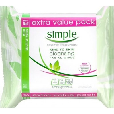 Simple Kind To Skin Cleansing Facial Wipes Extra Value Pack 2 x 25 st