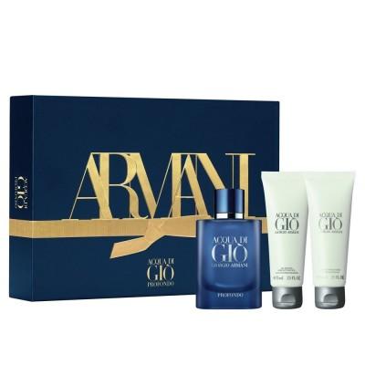 Giorgio Armani Acqua Di Gio Profondo EDP & Shower Gel & Aftershave Balm 3 x 75 ml
