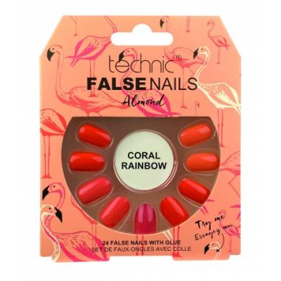 Technic False Nails Almond Coral Rainbow 24 kpl