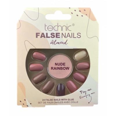 Technic False Nails Almond Nude Rainbow 24 pcs