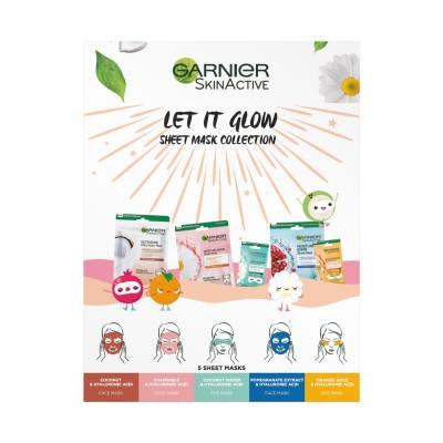 Garnier Let It Glow Sheet Mask Box 2021 5 stk