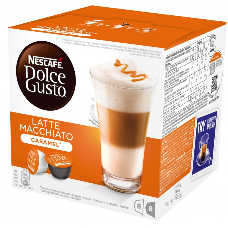 nescafe dolce gusto latte caramel macchiato 16 stk kr. Black Bedroom Furniture Sets. Home Design Ideas