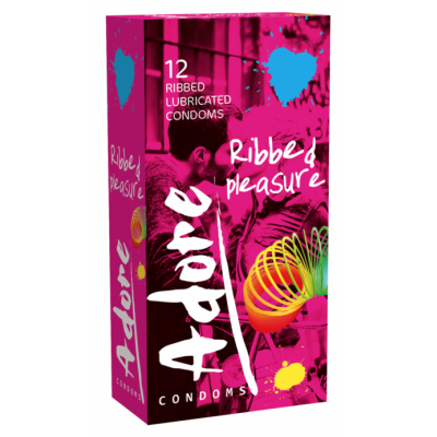 Adore Condoms Ribbed 12 stk