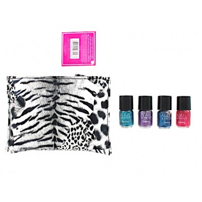 Famous X Nail Party Purse & 4 x Mini Glitter Nail Polish 1 + 4 stk