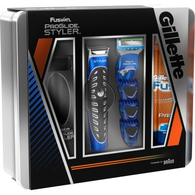 Image of   Gillette Fusion Proglide 3 In 1 Styler & Hydrating Shave Gel 1 stk + 1 stk + 200 ml