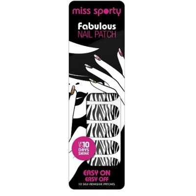Image of   Miss Sporty Fabulous Nail Patch Polish Strips Zebra 10 stk