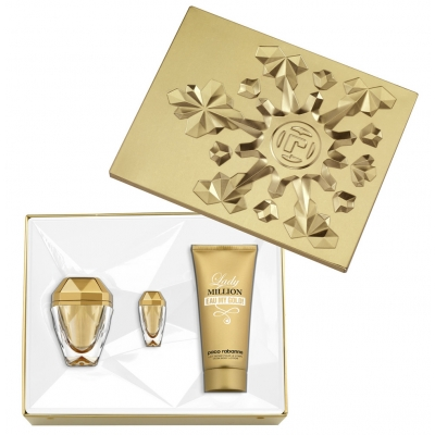 Image of   Paco Rabanne Lady Million Eau My Gold EDT & Body Lotion & Mini 50 ml + 100 ml + 7 ml