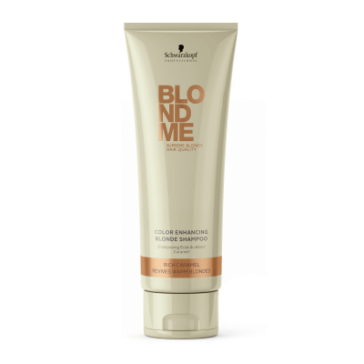 Image of   Schwarzkopf Blondme Color Enhancing Blonde Shampoo Rich Caramel 250 ml