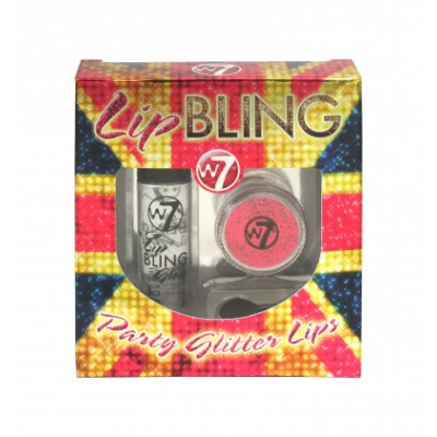Image of   W7 Lip Bling Party Glitter Lips Vino Tinto 1 g + 6 ml